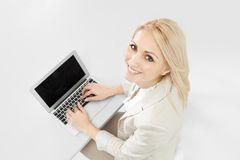 Beautiful businesswoman working on computer Royalty Free Stock Photos