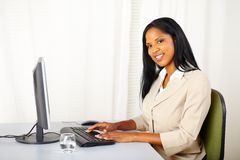Beautiful businesswoman working on computer Royalty Free Stock Photo