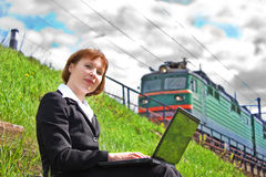 Beautiful businesswoman working on a computer Royalty Free Stock Images