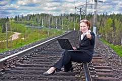 Beautiful businesswoman working on a computer Stock Images