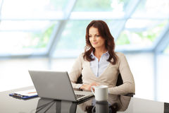 Beautiful businesswoman working on her laptop Stock Photography