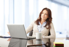 Beautiful businesswoman working on her laptop Stock Photo