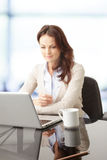 Beautiful businesswoman working on her laptop Stock Image