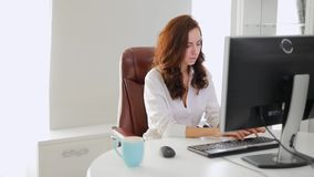Beautiful businesswoman working in office looking at computer monitor. Beautiful businesswoman working in the office looking at computer monitor, slow motion stock footage