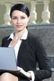 Beautiful businesswoman working outdoor Royalty Free Stock Photography