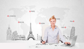 Beautiful businesswoman with world map and major landmarks of th Stock Image