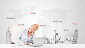 Beautiful businesswoman with world map and major landmarks of th Royalty Free Stock Image
