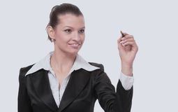 Young businesswoman with pen isolated Royalty Free Stock Photos