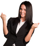 Beautiful businesswomen happily raised his hands Royalty Free Stock Image
