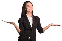 Beautiful businesswomen hold tablet. Closed her Royalty Free Stock Image
