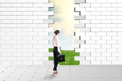 Beautiful businesswomen watching dilapidated brick wall Stock Image