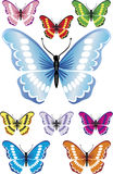 9 Beautiful butterflies with difrent colors and gradients. Stock Image