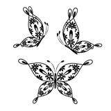 Beautiful butterflies with floral pattern. Stock Image
