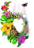 Beautiful butterflies with tropical flowers on colorful drops of paint. stock images