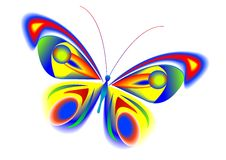 The beautiful butterfly. The tropical multi-coloured butterfly with beautiful wings Stock Photo