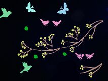 Beautiful butterfly with birds art