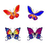 Beautiful Butterfly collection on white background,. Vector Stock Photos