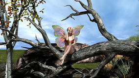 Beautiful Butterfly Fairy alone in the forest Royalty Free Stock Images