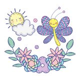 Beautiful butterfly with floral decoration stock illustration