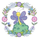 Beautiful butterfly flying with bush stock illustration
