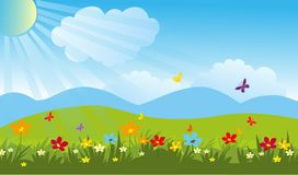 Summer field.Beautiful garden vector stock image. Beautiful butterfly garden vector stock image.Summer field Stock Photography