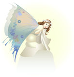 Beautiful butterfly. The beautiful girl in an image of a butterfly sits on a stone vector illustration