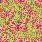 Beautiful Butterfly Green Seamless Pattern Stock Photo