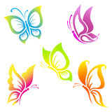 Beautiful  butterfly  icon  set Royalty Free Stock Images