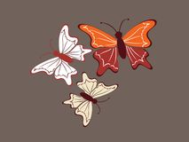 Beautiful butterfly trio Stock Photo