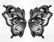 Beautiful butterfly wings mask with eyes. Royalty Free Stock Photos