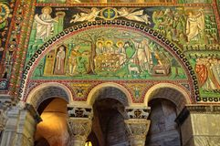 Byzantine mosaics - Ravenna. Beautiful Byzantine mosaics in the 6th century church of San Vitale - Ravenna, Italy stock image