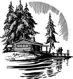 Beautiful Cabin By A Lake. Family enjoying a beautiful cabin by a lake Stock Photo