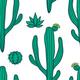 Beautiful Cactuses Abstract Natural Seamless Pattern Stock Photo