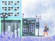 Beautiful cafe. Landscape and walking women - eps10 Stock Photo