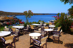Beautiful cafeteria at the beach. In Avlemonas village, Kythera, Greece stock photo