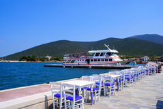 Beautiful cafeteria at the beach. In Avlemonas village, Kythera, Greece stock photography