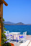Beautiful cafeteria at the beach. On Thassos island, Greece royalty free stock photos