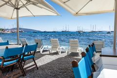 Beautiful cafeteria at the beach, Greece Royalty Free Stock Photos