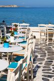 Beautiful cafeteria at the beach, on Mykonos island Stock Image