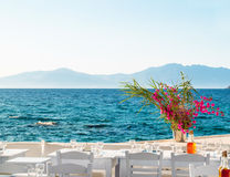 Beautiful cafeteria at the beach, on Mykonos island Royalty Free Stock Image