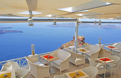 Beautiful cafeteria at caldera. On Santorini island, Greece stock image
