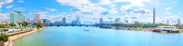 Beautiful Cairo panorama, view on the bridge over the Nile and the Cairo TV Tower. Aerial africa aran architecture bank blue building business city cityscape stock photography