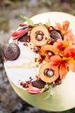 Beautiful cake with decor. royalty free stock image