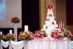 Beautiful Cake decorate with pink rose. Flower and candle for Wedding Ceremony stock photography