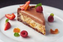 Beautiful cake dessert with cream and berry Stock Photo