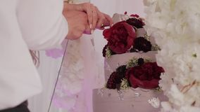 Beautiful cake at the festive event.  stock video