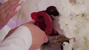 Beautiful cake at the festive event.  stock footage