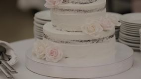 Beautiful cake at the festive event.  stock video footage