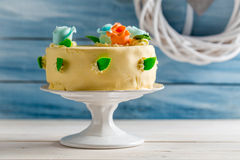 Beautiful cake with marzipan roses Royalty Free Stock Photo