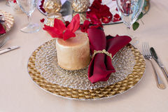 Beautiful cake on a plate on a festive table Stock Image
